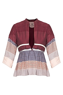 Multi colored striped pleated overlayer jacket by Tahweave