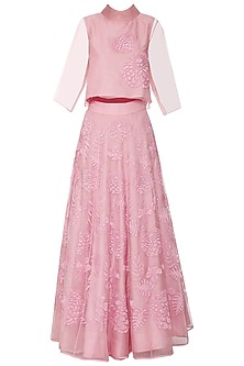 Powder Pink Embroidered Top with Lehenga Skirt