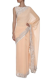 Peach Embroidered Saree with Blouse by TAIKA by Poonam Bhagat