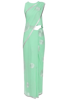 Aqua Blue Embroidered Saree with Blouse