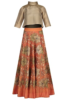 Orange Embroidered High-Waisted Skirt with Gold Crop Top