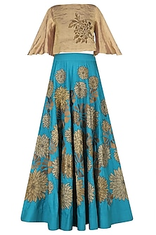Turquoise Embroidered High-Waist Skirt with Rose Gold Crop Top by TAIKA by Poonam Bhagat