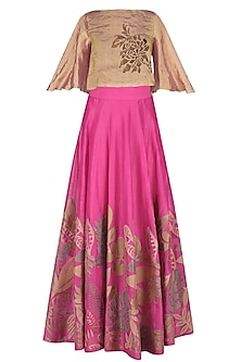 Rose Pink Embroidered High-Waist Skirt with Rose Gold Crop Top by TAIKA by Poonam Bhagat