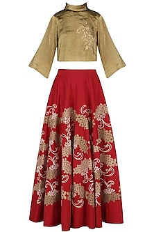 Red and Gold Appliqued High-Waisted Skirt with Bronze Crop Top