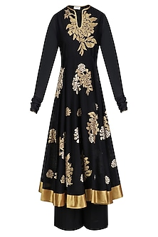 Black and Gold Floral Tissue Work Anarkali and Palazzos Set