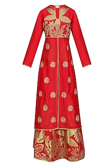 Red and Gold Floral Tissue Work Anarkali and Skirt Set