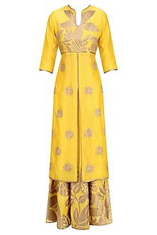 Yellow and Gold Floral Tissue Work Anarkali and Skirt Set