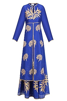 Blue and Gold Floral Tissue Work Anarkali and Skirt Set