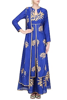 Blue and Gold Floral Tissue Work Anarkali and Skirt Set by TAIKA by Poonam Bhagat