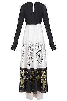 Black and White Floral Tissue Work Anarkali and Palazzos Set