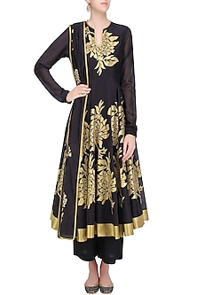 Black and Gold Gulmohar Motifs Anarkali and Palazzos Set by TAIKA by Poonam Bhagat