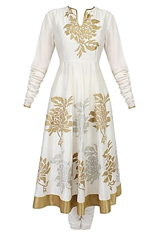 Ivory Floral Motifs Applique Flared Anarkali with Ivory Churidaar Pants Set by TAIKA by Poonam Bhagat