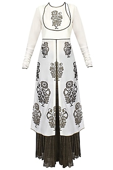 Ivory Front Open A Line Tunic with Black Crinkled Pleated Skirt Set by TAIKA by Poonam Bhagat