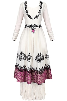 Ivory Floral Motifs Embroidered Kalidaar Anarkali with White Pleated Skirt Set