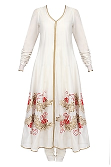 Ivory Floral Pattern Thread Embroidered Anarkali with Churidaar Pants Set