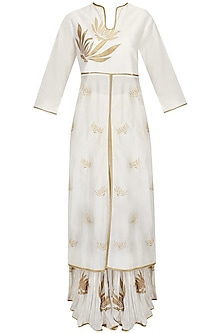 Ivory Gulmohar Flower Motifs Embroidered Tunic with Ivory Colored Crinkled Skirt Set by TAIKA by Poonam Bhagat