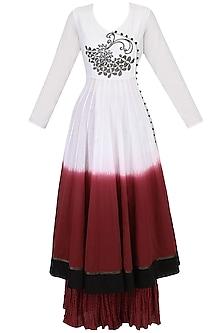 White Voile Dip Dyed Panelled Angrakha Kurta and Burgundy Crinkled Skirt Set by TAIKA by Poonam Bhagat