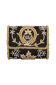 Black Embroidered Flapover Sling Bag by Tarini Nirula