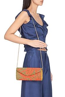 Peach & Gold Embroidered Flapover Sling Bag by Tarini Nirula