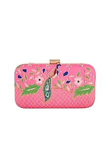 Pink Embroidered Sling Clutch by Tarini Nirula