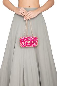 Pink Embroidered Clutch by Tarini Nirula