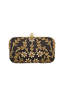 Black Embroidered Clutch by Tarini Nirula
