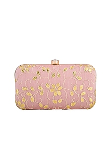 Light Pink & Gold Embroidered Clutch by Tarini Nirula