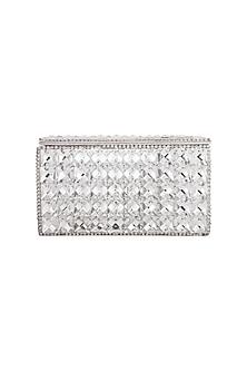 Silver Embroidered Crystal Clutch by Tarini Nirula