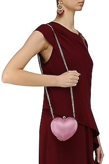 Red Heart Shaped Lovespell Rose Clutch by Tarini Nirula