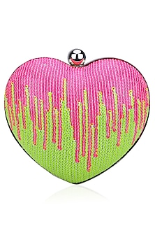 Pink and Green Sequinned Heart Shape Lovespell Sparkle Clutch by Tarini Nirula