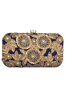 Black and gold embroidered clutch by Tarini Nirula