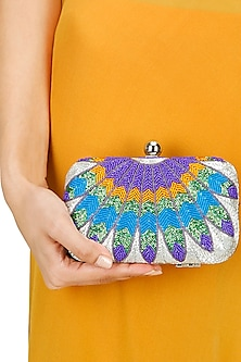 Phoenix orange and blue minaudiere clutch