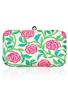 Off-white rosetta embrodiered pink roses minaudiere clutch by Tarini Nirula