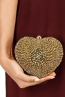 Lovespell bronze heart minaudiere clutch