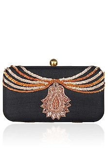 "Black Necklace Design ""Bejewelled"" Clutch by Tarini Nirula"