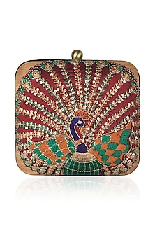 "Red, Green And Gld Peacock Embroidered Motifs ""Mor"" Clutch by Tarini Nirula"