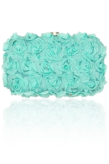 Pastel teal wild rose box clutch by Tarini Nirula
