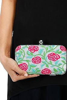 Rosetta embroidered pink roses minaudiere clutch