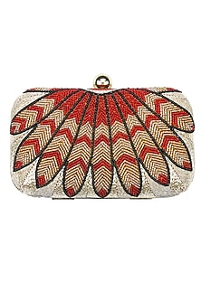 Phoenix beadwork minaudiere clutch by Tarini Nirula