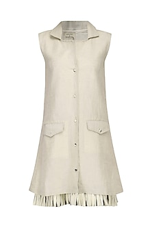 Cream Collared Blazer Shift Dress