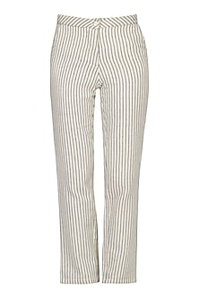 Cream Straight Fit Striped Pants