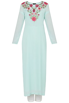 Mint Green Embroidered Kurta with White Straight Pants Set