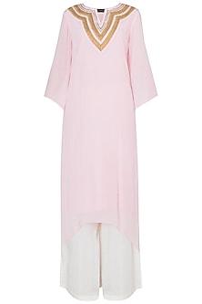 Baby Pink Gota Patti Embroidered Asymmetrical Kurta Set