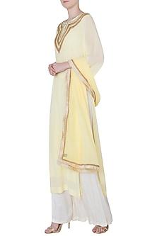 Lemon Yellow Gota Patti Embroidered Kurta Set by Trisha Dutta