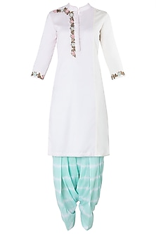Baby Pink and Offwhite Embroidered Kurta with Mint Green Shibori Salwar