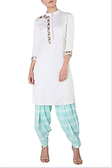 Baby Pink and Offwhite Embroidered Kurta with Mint Green Shibori Salwar by Trisha Dutta