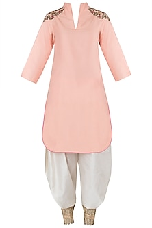 Peach Embroidered Kurta with Off White Drape Dhoti Pants