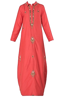 Vermilion Red Embroidered Drape Maxi Dress by Trisha Dutta