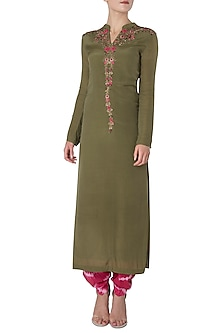 Olive Green Embroidered Long Kurta with Pink Shibori Salwar by Trisha Dutta