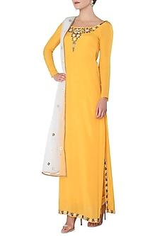 Turmeric Yellow Embroidered Kurta with Salwar Pants Set by Trisha Dutta